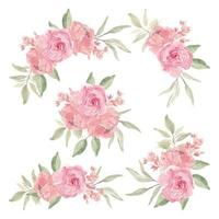 Watercolor Pink Flower Bouquet Set vector