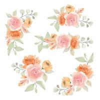 Watercolor Orange and Pink Rose Floral Bouquets vector