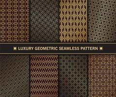 conjunto de patrones sin fisuras geométricas doradas de lujo