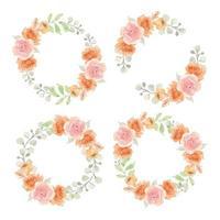 Watercolor Pink and Orange Rose Circle Frames