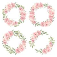 Watercolor Pink Rose Flower Wreath Collection