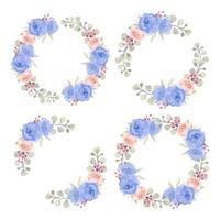 Watercolor Blue and Pink Rose Circle Borders
