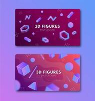 Set of bright backgrounds with geometric shapes