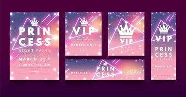 Princess style party flyer with sparkles vector