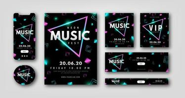 Neon stationery set for night party vector