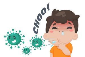 niño estornudando en estilo de dibujos animados vector