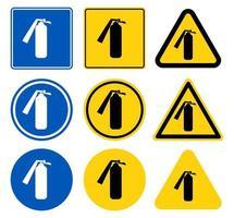 Fire extinguisher sign set vector