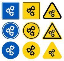 Three Gears Sign Set vector