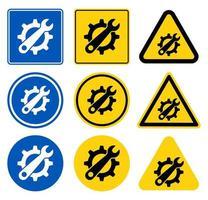 conjunto de signos de símbolo de herramienta de servicio