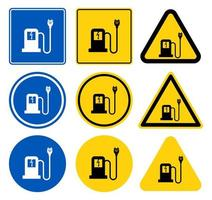 Car Re-Charge Sign Set vector