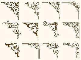 Brown Filigree Vintage Corner Frames Set vector