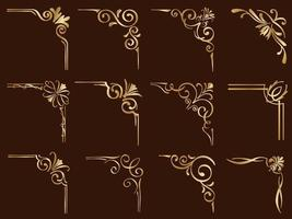 Set Of Golden FIligree Vintage Corner Frames vector