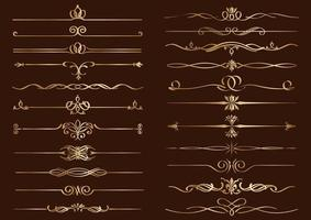 Gold Vintage Single Border Set vector