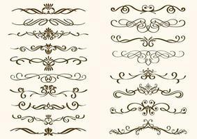 conjunto de bordes decorativos rizados de color marrón vector