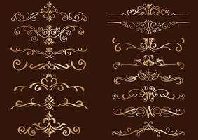 Gold Vintage Border Set vector