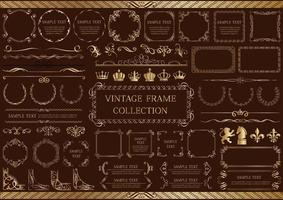 Gold Vintage Elements and Frames Set vector