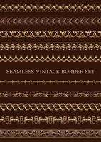 Set Of Seamless Decorative Borders in Gold vector