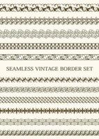conjunto de borda vintage sem costura marrom vetor