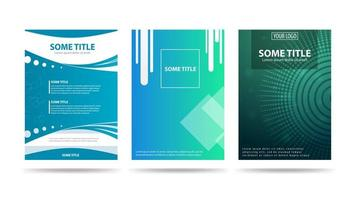Blue and green posters with geometric abstract shapes