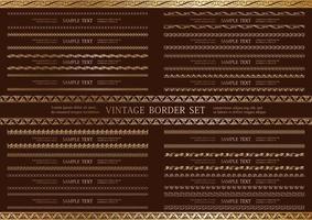 conjunto de borda vintage dupla sem costura ouro vetor