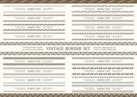 conjunto de borda vintage dupla sem costura marrom vetor