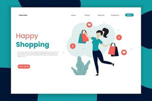 Happy woman shopping landing page template