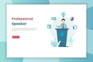 Professional speaker landing page template vector
