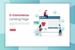 E-Commerce landing page with people shopping