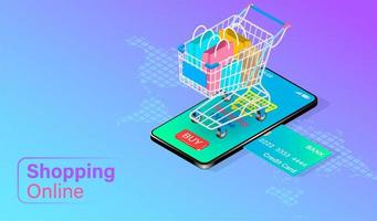 Shopping Online Concept with Cart on Mobile Phone