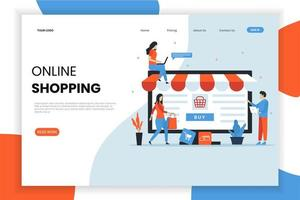 People shopping on computer landing page