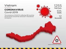 Carte des pays touchés par le coronavirus au Vietnam vecteur