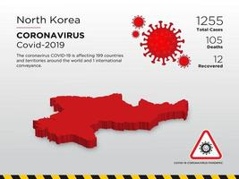 North Koria Affected Country Map of Coronavirus Disease Design Template