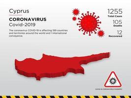 Chipre mapa del país afectado de coronavirus