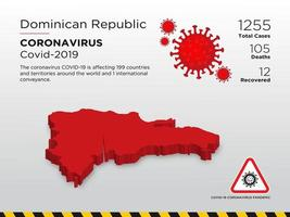 Dominican Republic Affected Country Map of Coronavirus vector
