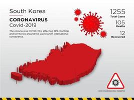 South Korea Affected Country Map of Coronavirus