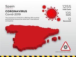 España mapa del país afectado de coronavirus vector