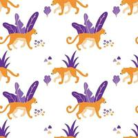 Wild Jaguar Cats Seamless Pattern.