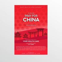 Red Coronavirus Poster with Pray for China Text