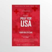 World Map Pray For USA Coronavirus Poster