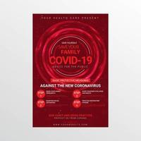 cartel rojo de conciencia médica brillante para covid-19 vector