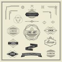 Set of retro vintage line art elements