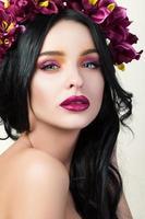 Beauty portrait of young pretty brunette girl