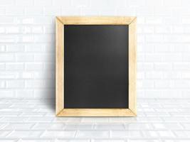 Blackboard at white tiles ceramic room