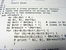 Close-up of a programming code Black on white writing  photo