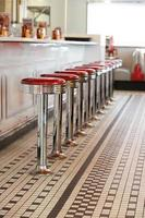 Bar stools in a diner