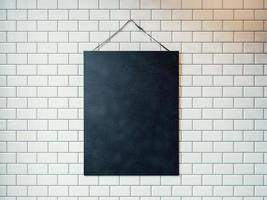 Black canvas hanging on the wall