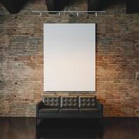 Photo of empty  canvas on the bricks wall background. 3d