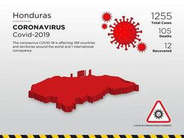 Honduras Affected Country Map of Coronavirus Spread  vector