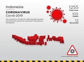 Mapa del país afectado por la propagación del coronavirus en Indonesia