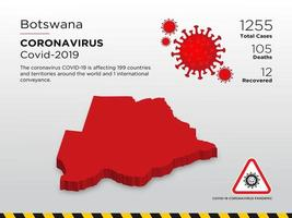 Botswana Affected Country Map of Coronavirus Spread  vector
